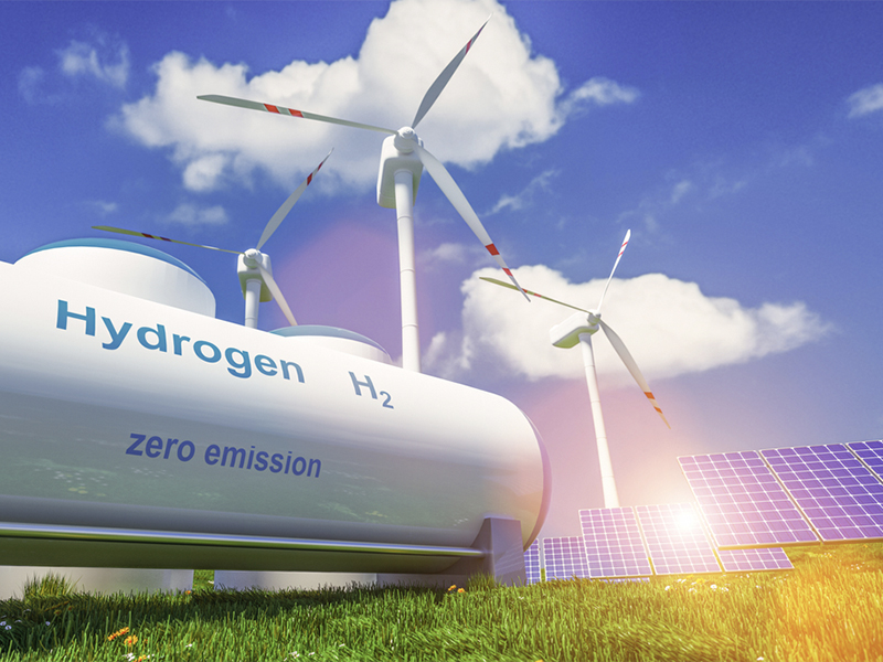 hydrogen fuel tank windmill solar energy panels clean sustainable